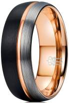THREE KEYS JEWELRY 8mm Tungsten Carbide Wedding Ring Thin Side Rose Gold Line Band Brown Silver Brushed