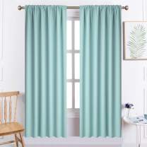 Yakamok Blackout Curtains Room Darkening Thermal Insulated Rod Pocket top Window Curtains for Living Room, 52 x 72 inch, Aqua, 2 Panels