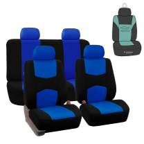 FH Group FB050115 Flat Cloth Seat Covers (Blue) Full Set with Gift – Universal Fit for Cars Trucks & SUVs