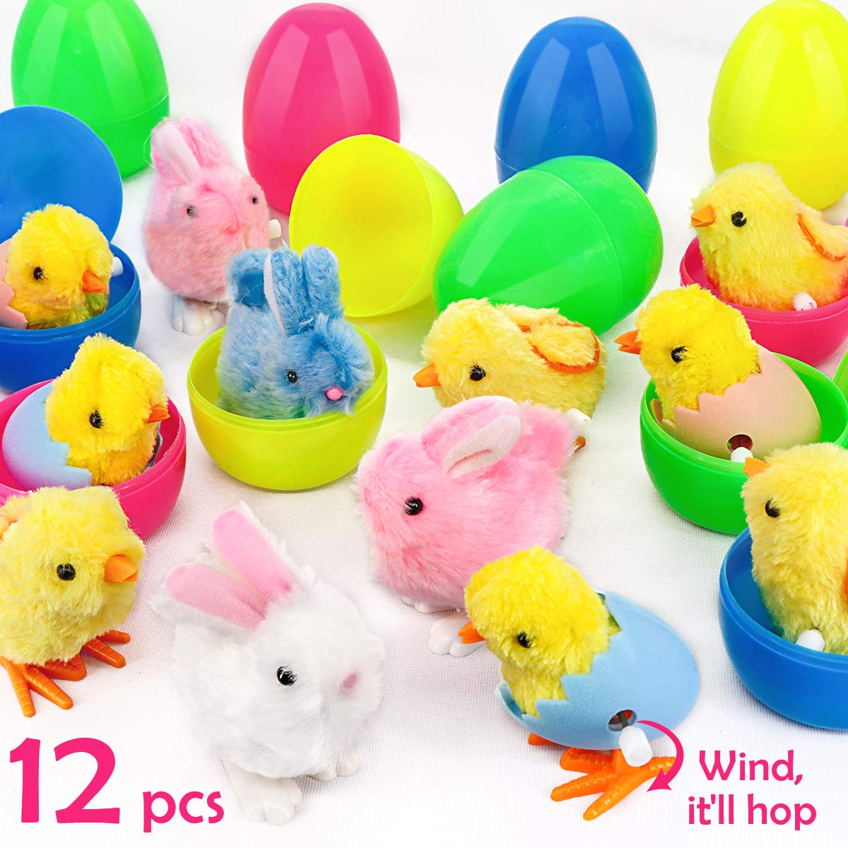 """Ivenf Plastic Easter Eggs Filled with Wind-Up Bunnies and Chicks Plush Toys 12 Pack, Surprise Prefilled Large 3-3/4"""" Easter Eggs Bulk for Kids, School Home Office Easter Decorations Party Supplies"""