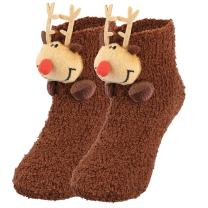 Vbiger Adult Toddler Coral Fleece Slipper Socks Warm Fuzzy Crew Floor Socks with Anti-skid Granules