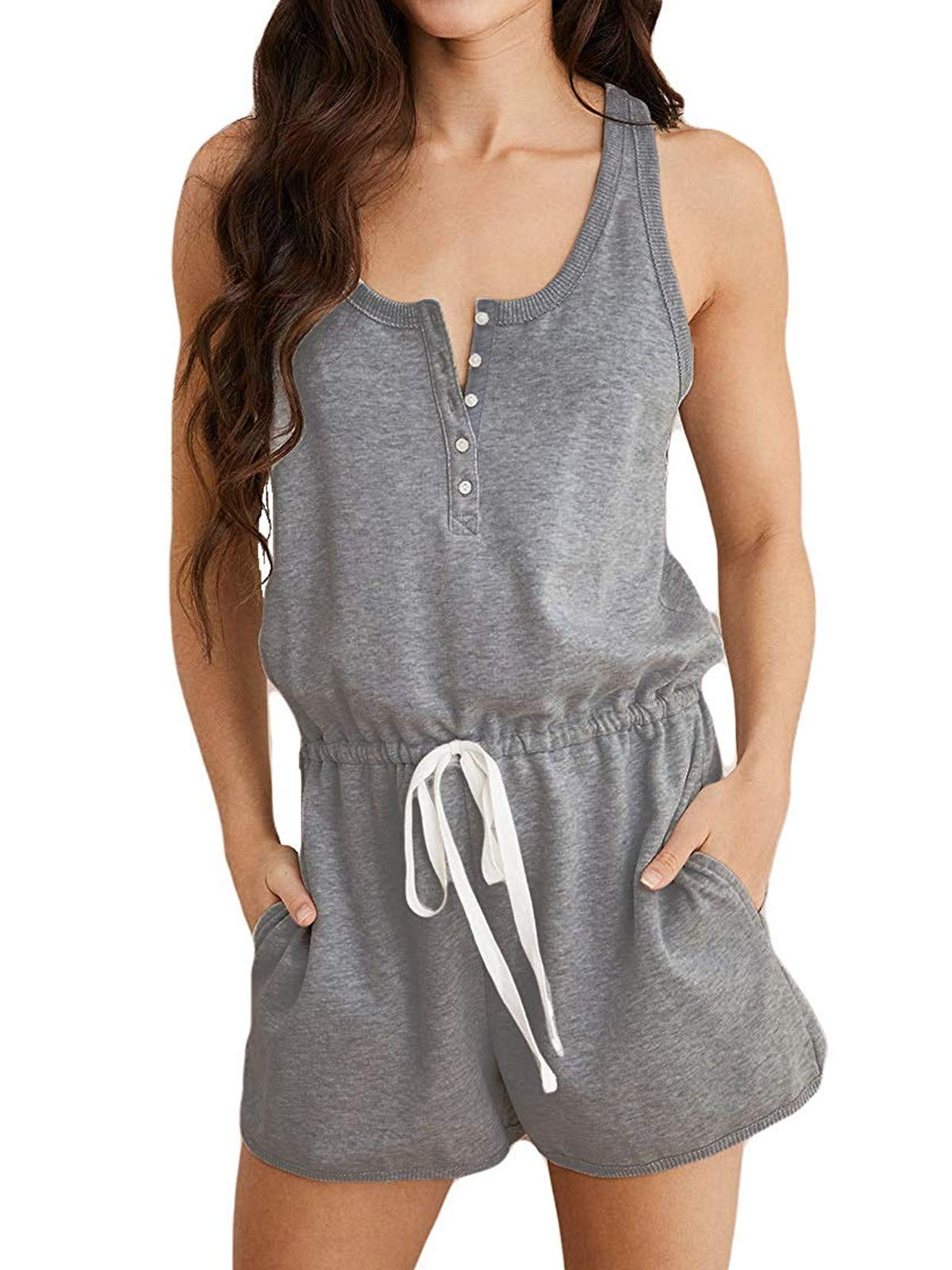 MILLCHIC Women's Jumpsuits Sleeveless Button Down Elastic Waisted Short Rompers with Pockets