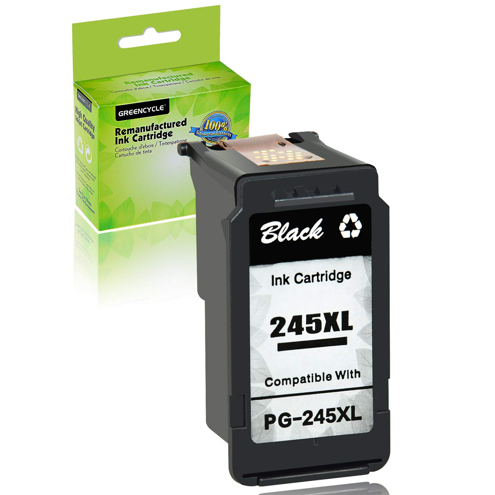 GREENCYCLE Re-Manufactured Ink Cartridge Compatible for Canon PG-245XL PG-245 245 XL Pixma MX490 MG2522 MG2525 MG2922 MG2924 MG3020 MG3022 MG3029 TS3120 TS3122 TS202 Printers (Black, 1 Pack)