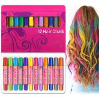 Maydear Hair Chalk Pens 12 Colors Temporary Hair Color for Hair Dye, Non-Toxic & Safe for kids, Great Birthday Gift for Girls