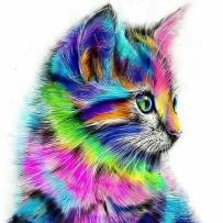 MXJSUA 5D Diamond Painting Kit DIY by Number Round Drill Beads Crystal Rhinestone Picture Supplies Arts Craft Wall Sticker Decor-Color Cute Cat 12x12in