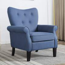 Artechworks Tufted Upholstered Accent Arm Chair with Tech Cloth(Leathaire), Love Shape Single Sofa Club Chair for Living Room, Bedroom, Home Office, Hosting Room,Blue Color