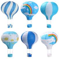 Hot Air Balloon Paper Lanterns for Wedding Birthday Engagement Christmas Party Decoration Blue Set Pack of 6