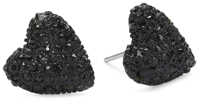 Betsey Johnson Women's Iconic Black Heart Studs