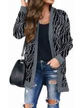 MEROKEETY Women's Open Front Leopard Knit Cardigan Sweaters Pockets Long Sleeve Outwear