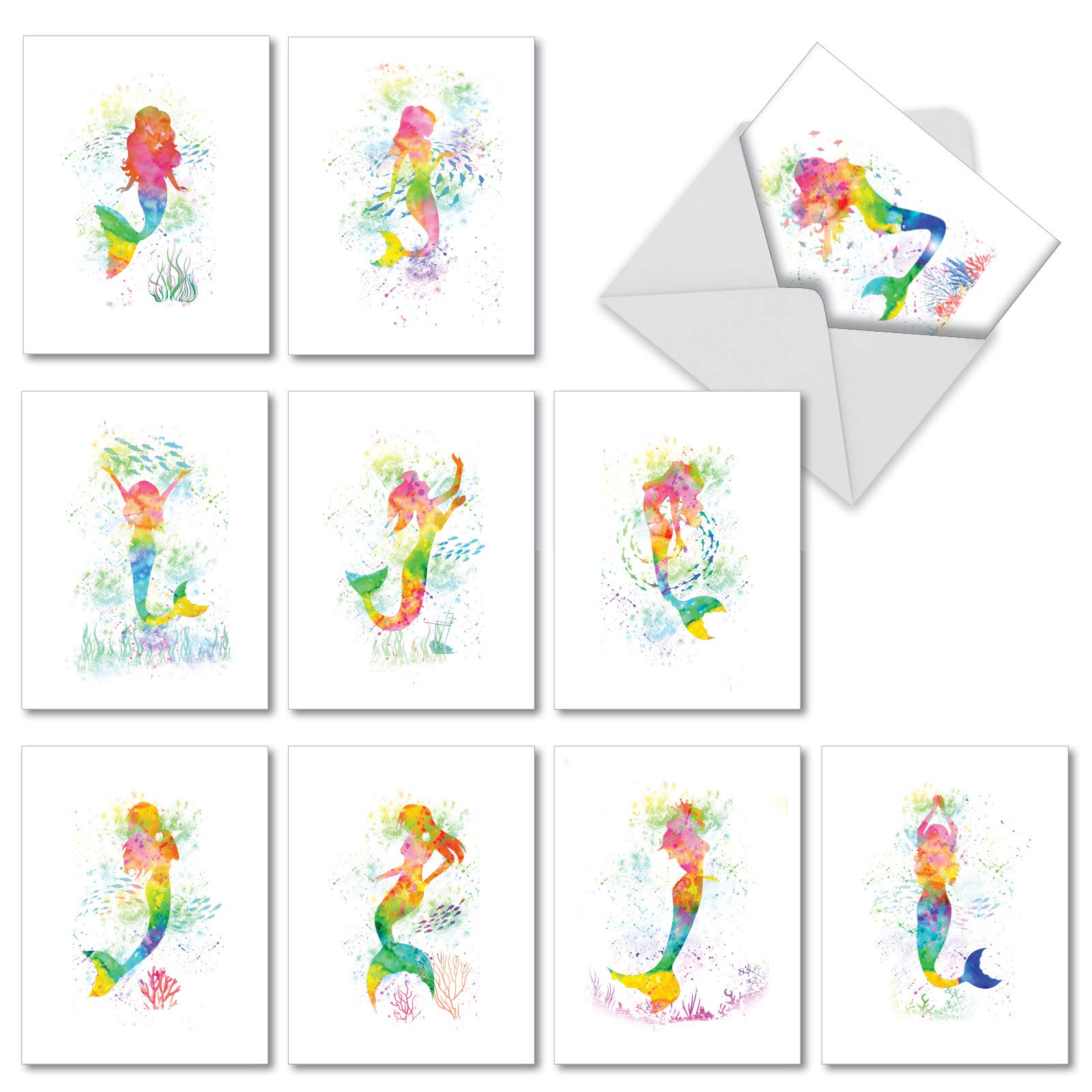 Funky Rainbow Mermaids - Assortment of 10 Watercolor Note Cards with Envelopes (4 x 5.12 Inch) - Box of Blank All Occasion Notecards for Girls, Women - Cute Colorful Ocean Mermaid AM6863OCB-B1x10