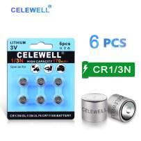 【7-Year Warranty】 CELEWELL 6 Pack DL1/3N 3V Lithium Battery 170mAh High Capacity for Laser Sights Same as CR1/3N CR 1/3N