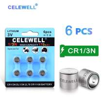 【7-Year Warranty】 CELEWELL 6 Pack DL1/3N 3V Lithium Battery 170mAh High Capacity for Laser Sights Same as CR1/3N CR 1/3N
