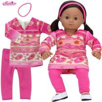 Sophia's 15 Inch Pink Print Dress, Pink Leggings and Headband 3 Piece Baby Doll Outfit