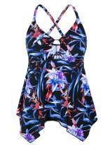 Mycoco Women's Front Tie Swim Top Cross Back Tankini Top Flowy Swimdress Tummy Control