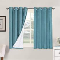 Linen Blackout Curtains 54 Inches Long 100% Total Blackout Heavy-Duty Draperies for Bedroom Living Room Thermal Insulated Textured Functional Window Treatment Anti Rust Grommet (Teal, 2 Panels)