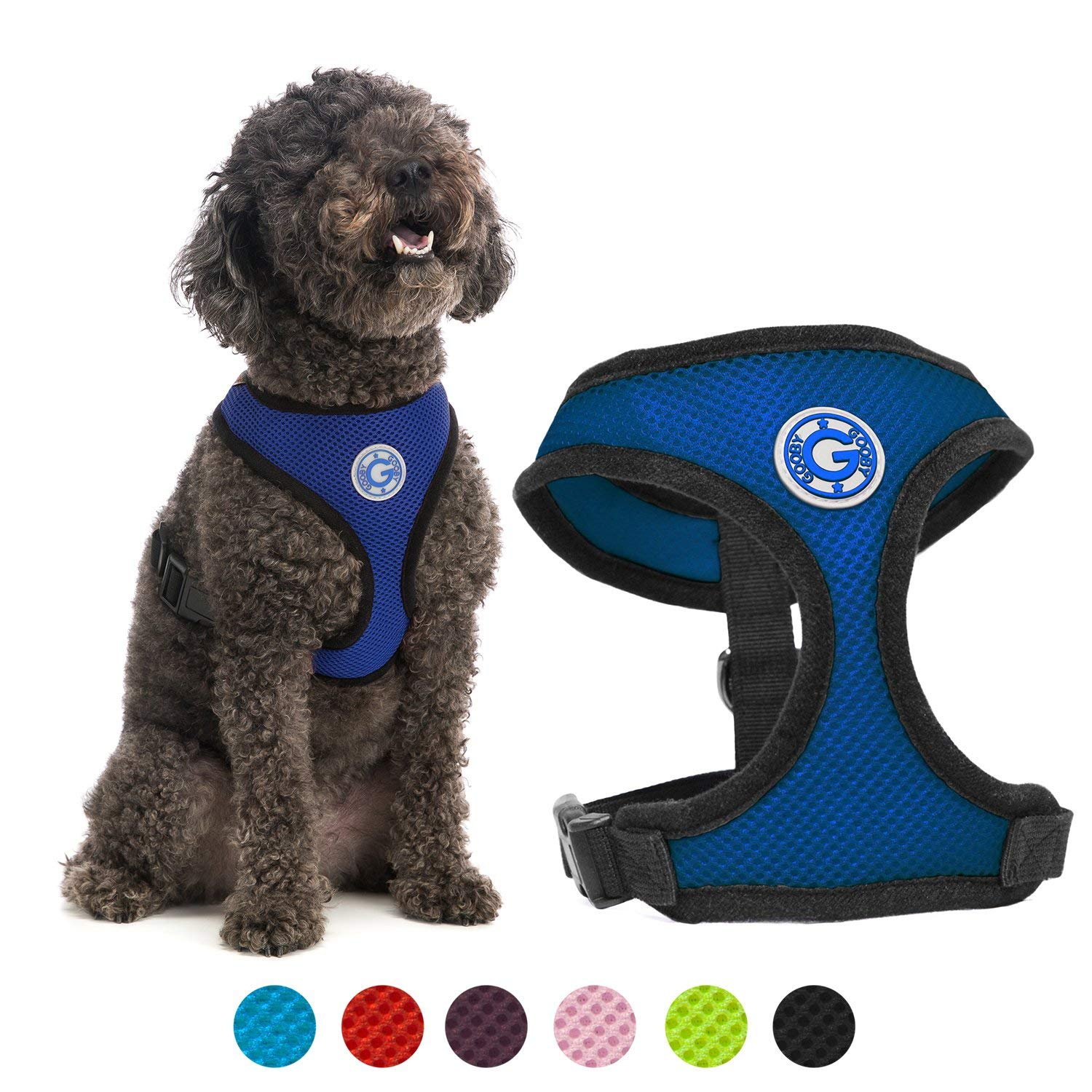 Gooby Dog Harness - Soft Mesh Head-in Small Dog Harness with Breathable Mesh - Perfect on The Go Mesh Harness for Small Dogs or Cat Harness for Indoor and Outdoor Use