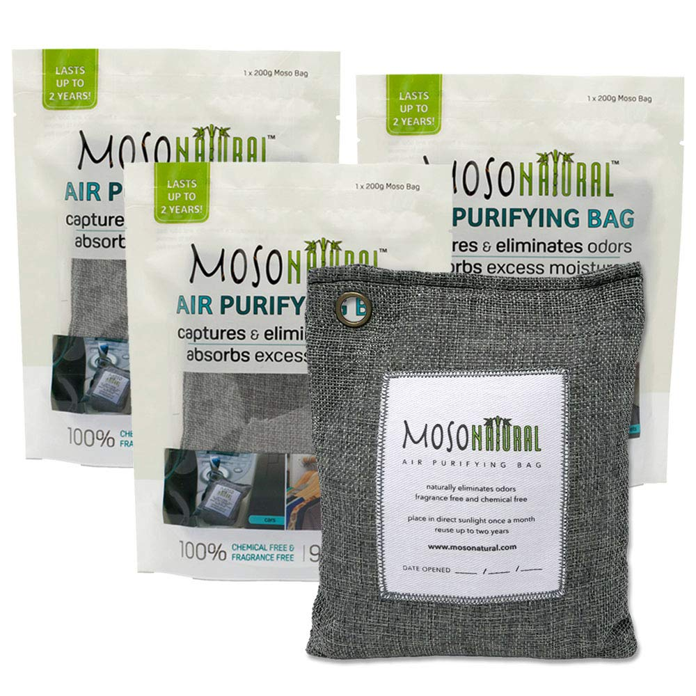 MOSO NATURAL: The Original Air Purifying Bag. Fragrance Free, Chemical Free, Long Lasting, Moisture Absorbing Odor Eliminator. for Cars, Closets, Bathrooms, Pet Areas. Three 200g Charcoal Color Bags