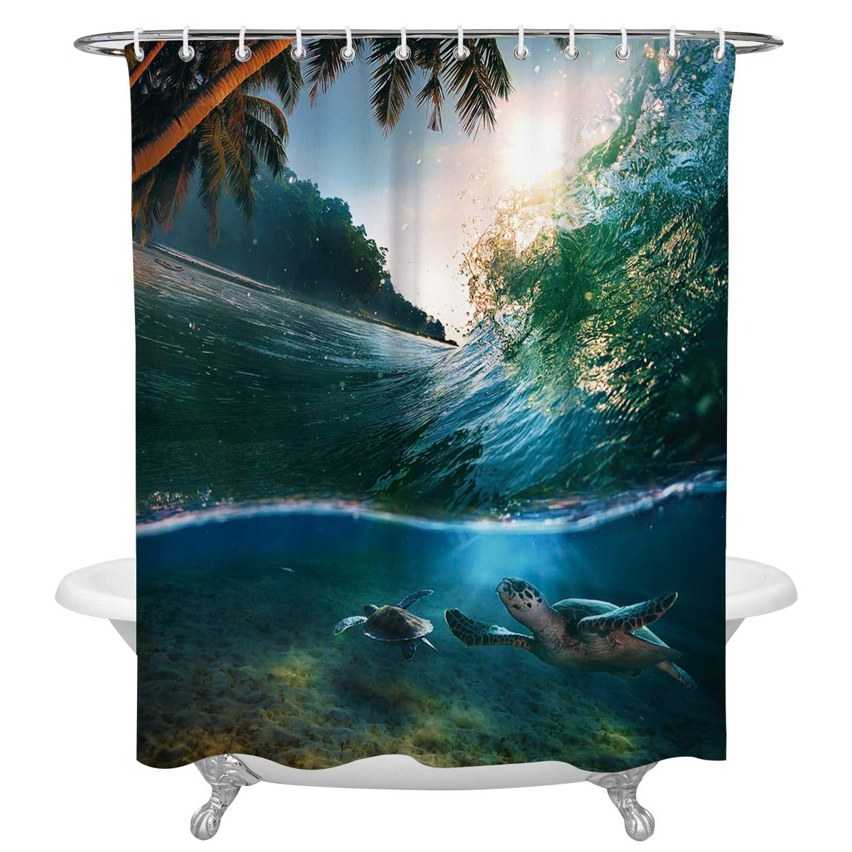 FAMILYDECOR Sea Turtle Polyester Fabric Shower Curtains for Bathroom, Tropical Paradise Coconut Palms Crystal Ocean Clear Sea Waterproof Bath Curtain with Hooks, 72x78 Inch, White and Gray