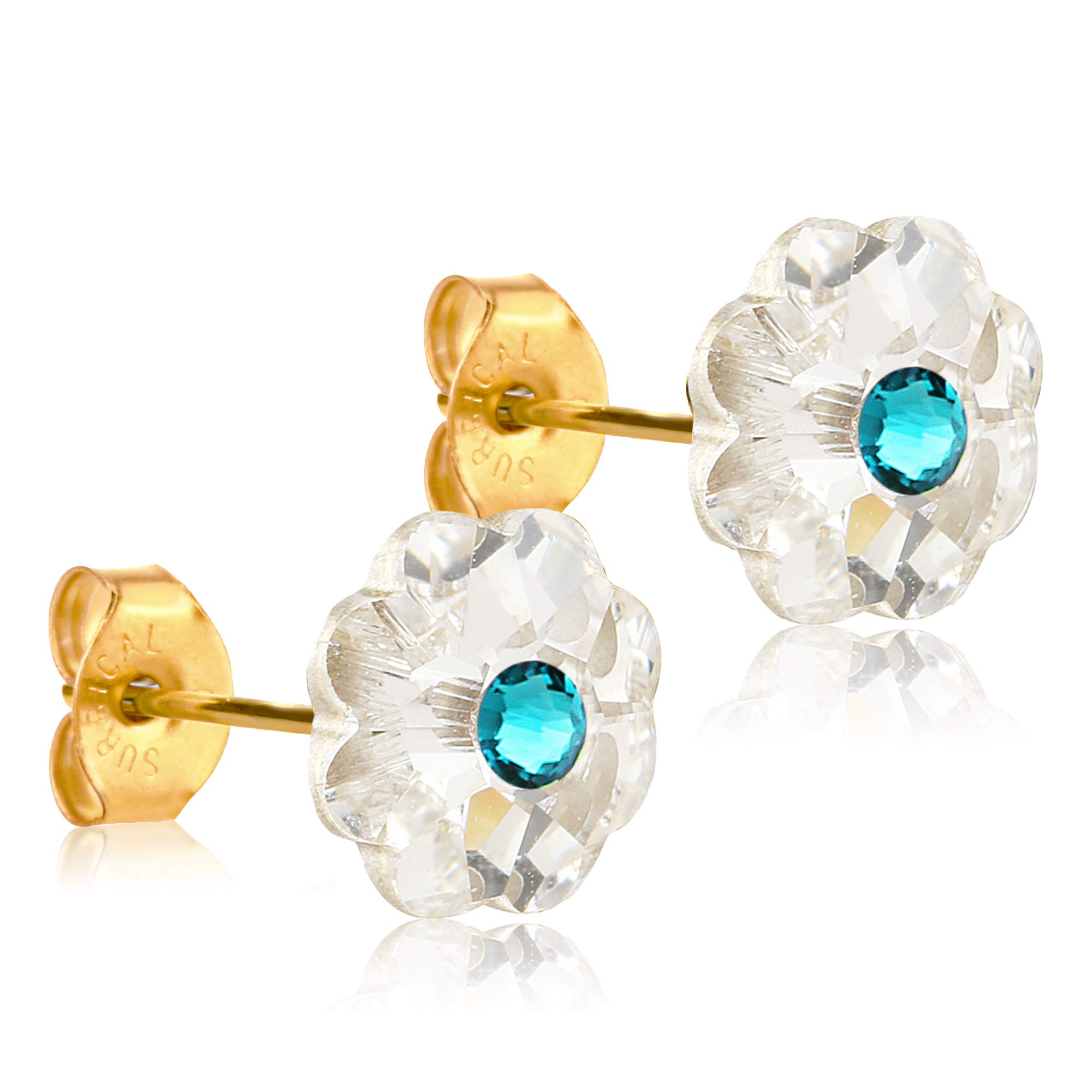 14k Gold Coated Earrings for Women & Girls| 10mm Swarovski Flower Crystals| Made With Hypoallergenic, Surgical Stainless Steel great for sensitive ears| Jewelry Gifts for Women