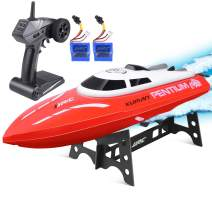 kuman Remote Control Boat, 25KM/H High Speed Waterproof Rc Racing Boat with 180º Flip Function,2.4GHz LCD Display Controller for Kids/Adults Pool & Outdoor Use KS1