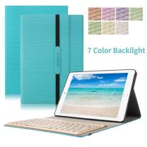 Keyboard Case for New iPad Pro 10.5 ,Dingrich Trifold Protective Stand Auto Sleep Wake up Smart Cover with 7 Color Backlit Aluminum Bluetooth Keyboard for 2017 New iPad Pro 10.5 inch(Blue)