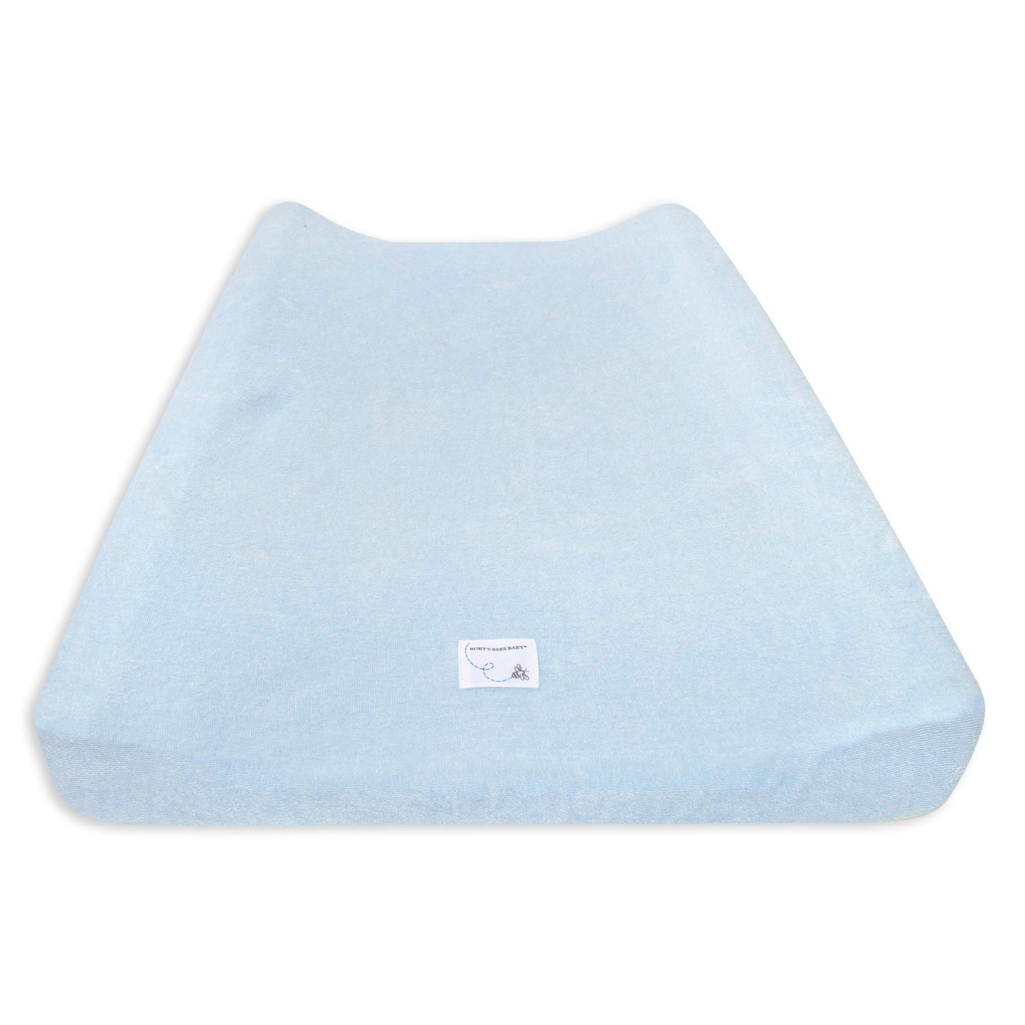 """Burt's Bees Baby - Changing Pad Cover, Super Absorbent Knit Terry, 100% Organic Cotton for Standard 16"""" x 32"""" Changing Pads (Sky Blue)"""