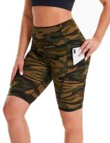CAMPSNAIL Women's High Waist Workout Yoga Shorts - Side Pockets Biker Shorts Soft Workout Yoga Leggings Gym Running Athletic
