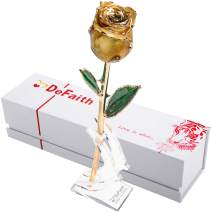 DEFAITH Real Rose 24K Gold Dipped with Crescent Stand, Forever Gifts for Her Valentines Day Anniversary Wedding and Proposal, Attractive Luster and Natural Shape (I. Yellow)