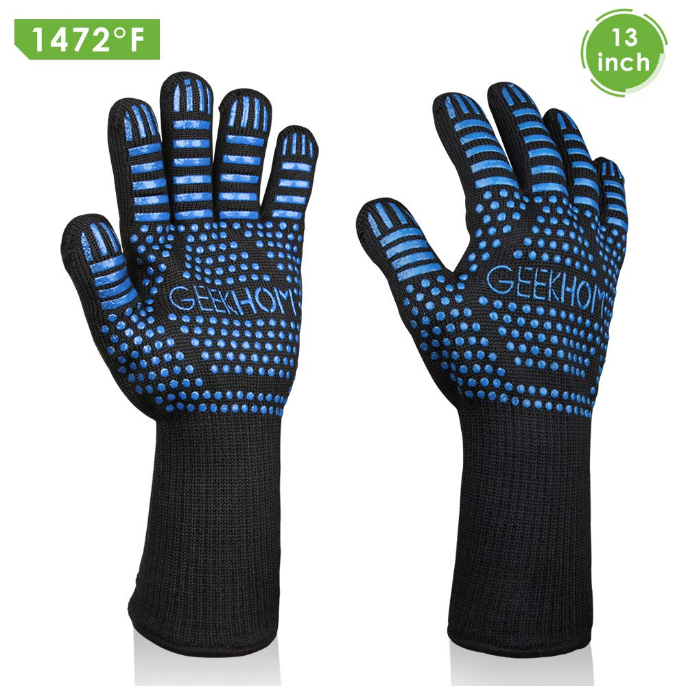 GEEKHOM Grilling Gloves,1472℉ Heat Resistant BBQ Grill Gloves, EN407 Certified 13 Inch Oven Gloves for Smoker Barbecue Baking Cooking Welding Weber Fireplace(Blue)