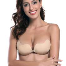 Pvendor Strapless Backless Bra Push up Strapless Self Adhesive Plunge Bra Invisible Backless Sticky Bras for Women