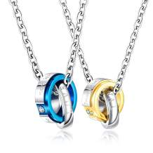 Sifity His and His King Gay Couple Matching Rings Necklace Blue Gold Titanium Chain Pendant Amulet Jewelry for Gay LGBT Gifts Bf Valentine