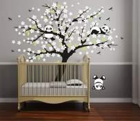 LUCKKYY Three Playful Pandas Bear on Cherry Blossom Tree Wall Decal Tree Wall Sticker Nursery and Children's Room (White)
