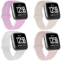Coperr 4 Packs Bands Compatible with Fitbit Versa/Fitbit Versa 2 / Fitbit Versa Lite for Women and Men, Soft Silicone Sport Strap Replacement Wristband with Ventilation Holes for Fitbit Versa