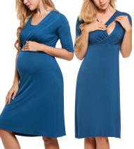 Hotouch Women's Maternity Nursing Nightgown for Breastfeeding Dress Nightshirt Sleepwear S-XXL