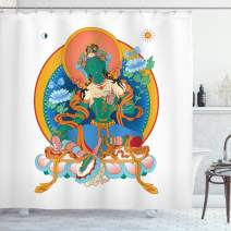 """Ambesonne Tibetan Shower Curtain, Art Illustration of a Sacred Female Symbol with Flowers and Round Sun Background, Cloth Fabric Bathroom Decor Set with Hooks, 70"""" Long, White Orange…"""
