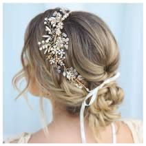 SWEETV Gold Rhinestone Wedding Headband Handmade Hair Band Bridal Headpiece Hair Accessories for Brides Bridesmaid