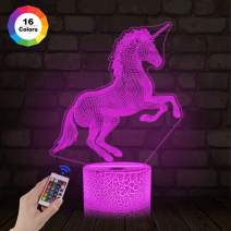 Unicorn Gifts, 3D Night Light for Kids Projection LED Lamp Baby Nursery Nightlight with Remote Control &16 Color Changing Gifts for Kids Room Xmas Birthday(Remote -Ice Crake Base)
