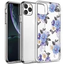 SPEVERT iPhone 11 Pro Case 5.8 inches, Flower Pattern Printed Clear Design Transparent Hard Back Case with TPU Bumper Cover for iPhone 11 Pro 5.8 inch 2019 Released - Blue Flower