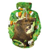 color cosplayerUnisex St. PatricksDay Lucky CharmClover PulloverHoodiewithPocket
