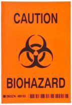 "Brady 89169 3 1/2"" Width x 5"" Height, B-302 High Performance Polyester, Black on Orange Biohazard Sign, Legend ""Caution Biohazard"" (with picto)"