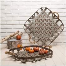 Glitzhome Farmhouse Oversized Metal Basket Galvanized Tray, Set of 2