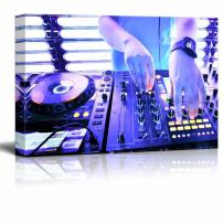 """Canvas Prints Wall Art - Dj Playing The Track in The Nightclub at a Party/Bar   Modern Wall Decor/Home Decor Stretched Gallery Wraps Giclee Print & Wood Framed. Ready to Hang - 24"""" x 36"""""""