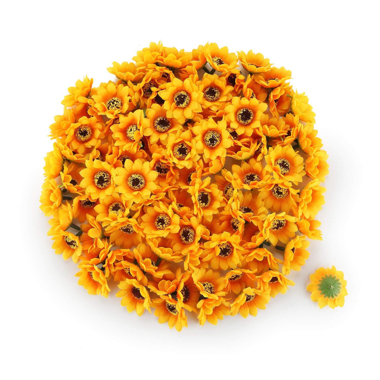 "T4U 200PCS Artificial Silk Sunflower Heads Faux Sunflower Heads in Yellow for Home Garden Wedding Party Decoration Wreath DIY Craft(Diameter:1.77"")"