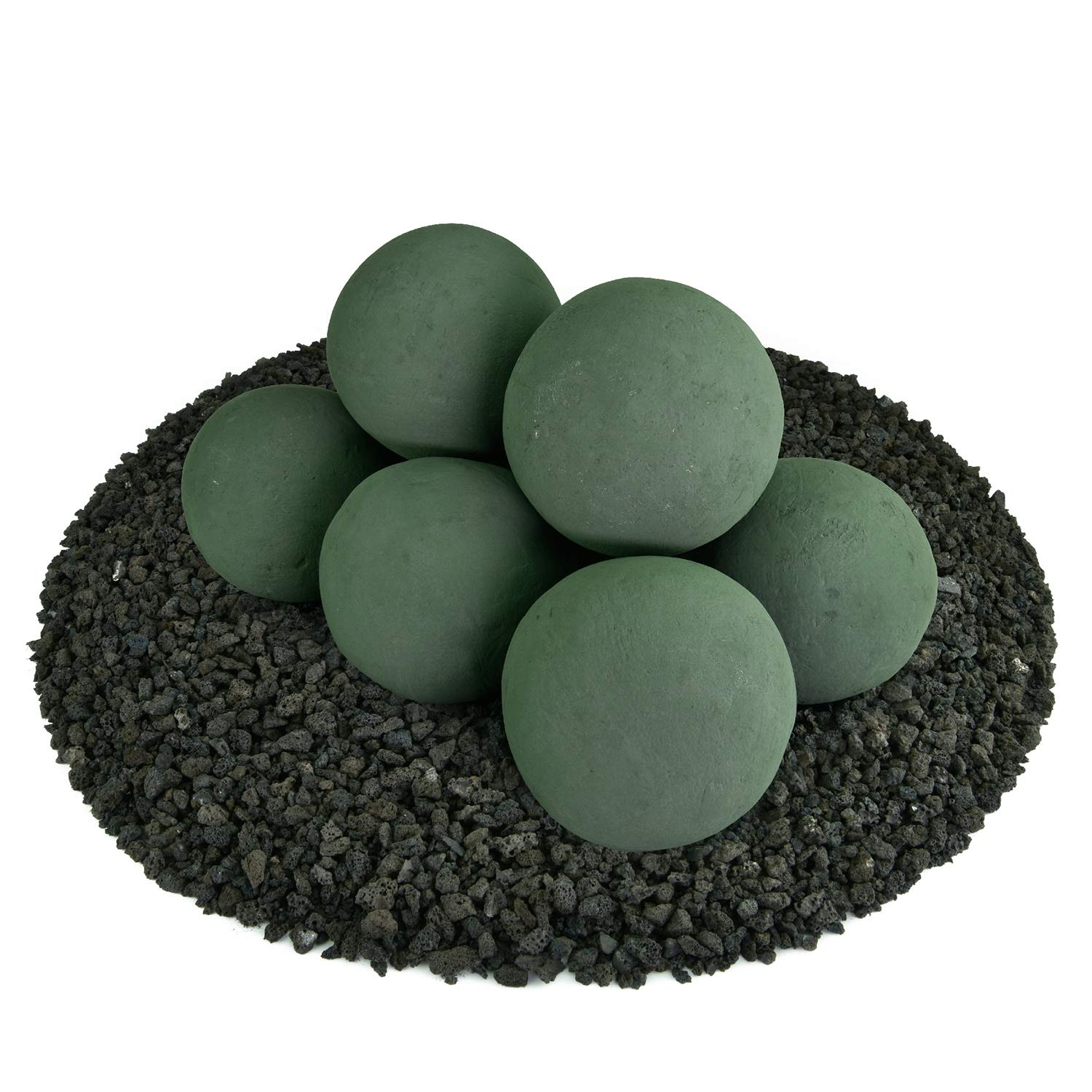 Ceramic Fire Balls | Set of 8 | Modern Accessory for Indoor and Outdoor Fire Pits or Fireplaces – Brushed Concrete Look | Slate Green, 5 Inch