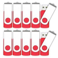 10 X MOSDART 2GB USB2.0 Flash Drives in Bulk Small Capacity Swivel Thumb Drives Jump Drive Memory Stick Zip Drive with Led Indicator,Red- 10pack(Unbranded)
