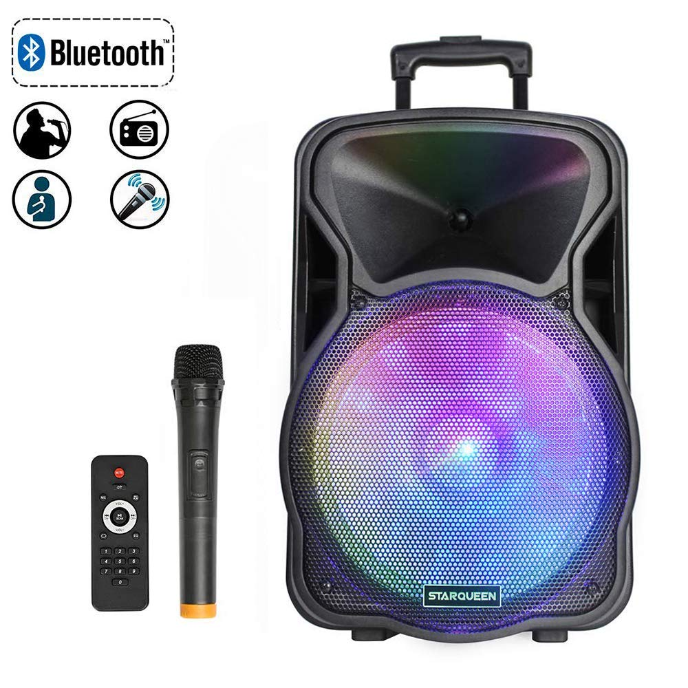 Starqueen 12Inch Portable Bluetooth Speaker, Rechargeable PA System with Wireless Microphone/DJ Party Light, Outdoor Big Karaoke Amplifier Sound System with AUX/FM Radio/TF/USB/Mixer/Stereo