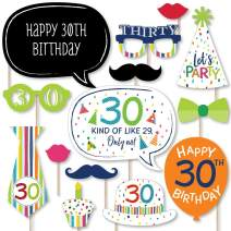 Big Dot of Happiness 30th Birthday - Cheerful Happy Birthday - Colorful Thirtieth Birthday Party Photo Booth Props Kit - 20 Count