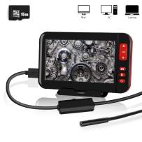Industrial Endoscope, YOMERA 4.3inch 1080P HD LCD Screen 8mm Borescope Camera IP67 Waterproof Inspection Camera with 8 LED Lights, 5M Semi-Rigid Flexible Snake Camera Include 16G SD Card (16.4ft)