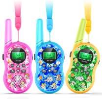 Romanda Kids Walkie Talkies, 3 Pack Walkie Talkies for Kids 22 Channel 2 Way Radio 3 Miles Range with Backlit LCD Flashlight Boys Girls Gift Toys for Outdoor Adventure, Camping, Hiking