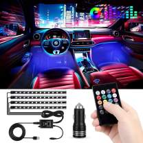 Car LED Strip Light, 4pcs 48 LED Multi-Color Music Car Interior Lights Under Dash Lighting Waterproof Kit with Sound Active Function and Wireless Remote Control, Car Charger Included, DC 12V